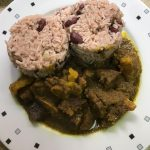 Curry Mutton with Rice & Peas or White Rice
